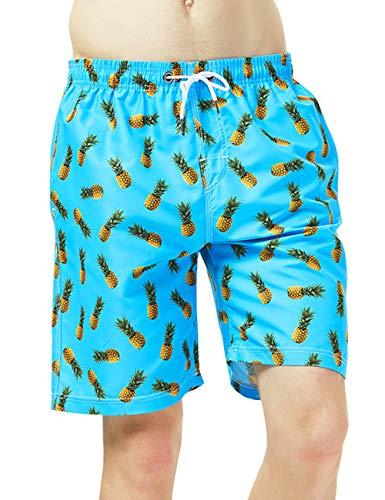 Hlvexh Men's Swimwear Big and Tall 3D Printed Pineapple Casual Swim Trunks XXL