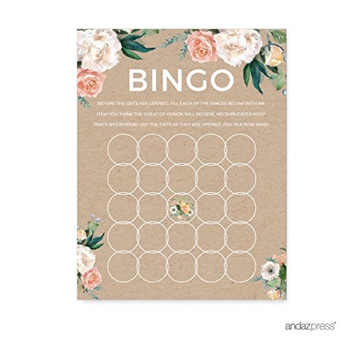 Andaz Press Peach Kraft Brown Rustic Floral Garden Party Baby Shower Collection, Baby Bingo Game Cards, 20-Pack, Games Activities and (Personalized Bingo Games)