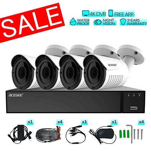 ACESEE 1080P All-in-One Home Surveillance Security Camera System, 8 Channel DVR, 4 x 1080P Full HD Weatherproof Analog Bullet Camera No HDD