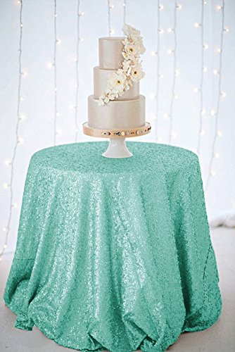 Turquoise Silver Overlay (ShinyBeauty Sequin Tablecloth-Mint-48Inch Round Sparkle Tablecloth,Glitter Table Cloth,Sequin Wedding Tablecloth)