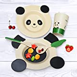 Eco-friendly Materials Kids Dinnerware Tableware Set Panda Cute Plate Microwavable 5 Pieces kids and toddler plate, bowl and cup