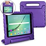 COOPER DYNAMO Kids case compatible with Galaxy Tab S3 9.7 | Shock Proof Heavy Duty Kidproof Cover for Kids | Girls, Boys | Kid Friendly Handle & Stand, Screen Protector | Samsung SM-T820 T825 (Purple)