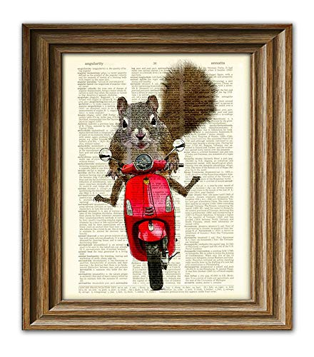 Scooter the Squirrel Goes For a Moped Ride Art Print Dictionary Page Book Art Print