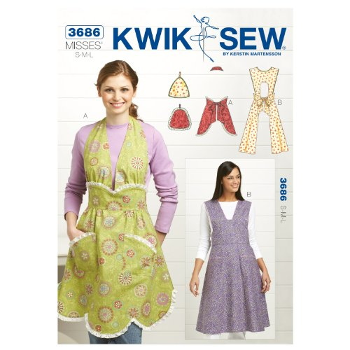 Kwik Sew K3686 Vintage Aprons and Pot Holders Sewing Pattern, Size S-M-L, Pot Holders One Size