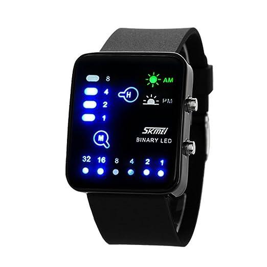 Tecnológico Sense binario LED Digital impermeable Unisex Sport muñeca relojes azul: Amazon.es: Relojes