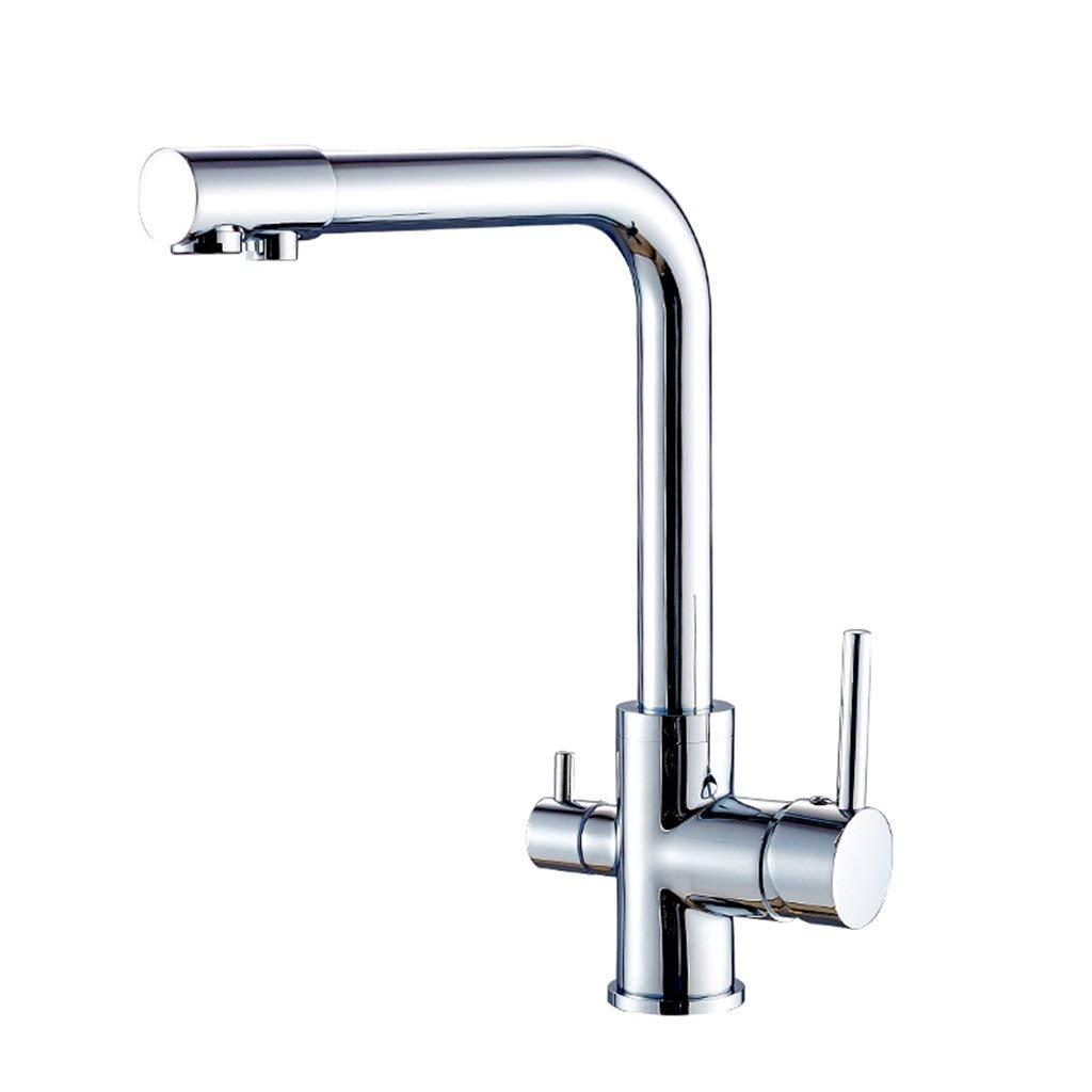MVW Wasserhahn Wasserhahn aus reinem Kupfer Küche Trinkwasser Wasserhahn Caipen DREI heiße und kalte (Farbe  A)