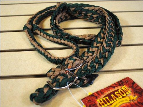 Dark Green Tan Braided Poly Barrel Racing Contest Reins Flat W/easy Grip Knots 1