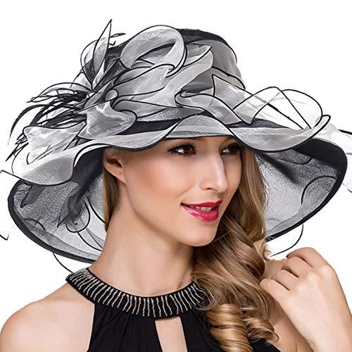 Women Kentucky Derby Church Dress Fascinator Wide Brim Tea Party Wedding Organza Hats S042b (S037-Black) ()