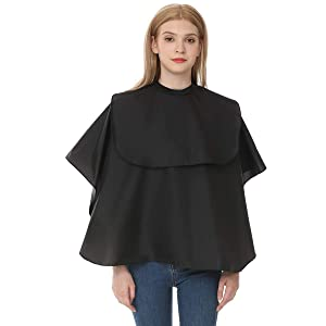 Ymnenvxo Short Barber Cape - Professional Hair Coloring Cutting Cape with Adjustable Snap Closure Waterproof Shampoo Makeup Cape for Salon and Home - 41 x 36 inches (Black)