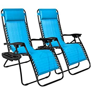 2PCS Blue Zero Gravity Recliner Lounge Chair Cup Tray Holder Foldable Design Patio Outdoor Garden Deck Backyard Camping Picnic Pool Beach Décor Furniture UV-Resistant Removable Adjustable Headrests