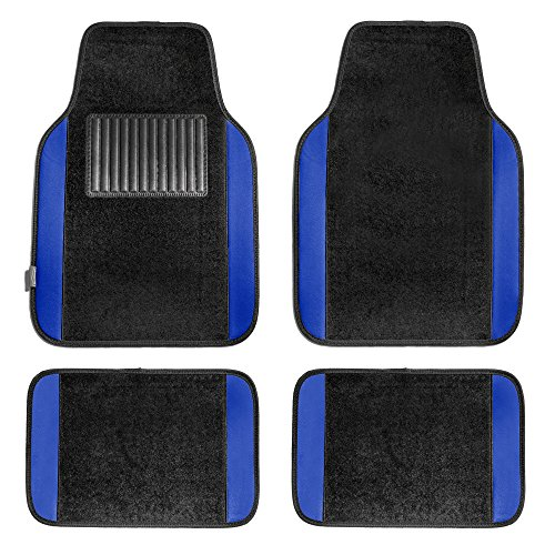 FH Group F14407BLUE Premium Full Set Carpet Floor Mat (Sedan and SUV with Driver Heel Pad Blue) Carpet Floor Mats Rear Wheel