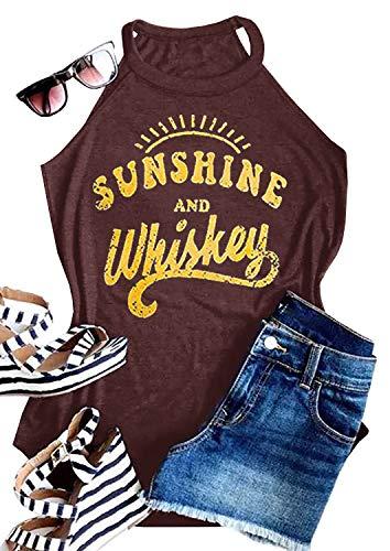 IRISGOD Womens High Neck Tank Tops Summer Graphic Sunshine and Whiskey Sleeveless Country Drinking Shirts
