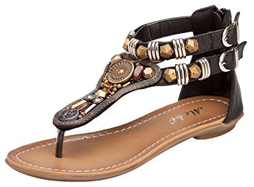La Vogue Sandale Femme Strass Bohême Clip Toe T-Strap Tongs Chaussure Vintage Plage Voyage Été Noir 0NJA5