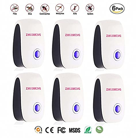 ZHUIMENG(2017 New Technology)Set of 6 Pest Control Electric Ultrasonic Repellent, Electronic Plug Ultrasonic Pest Control Repeller for Insects-Repels Mice, Rats,Roaches, Spiders, Other (Ultrasonic Electric Repellent)