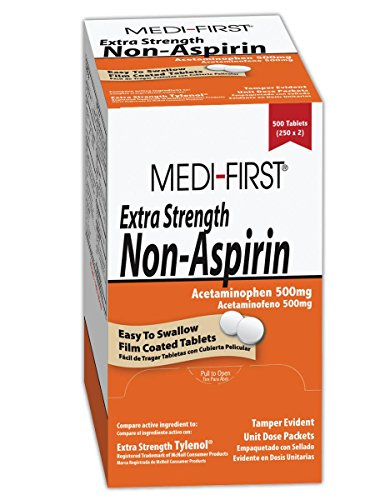 Medique MP804-13 Medi-First Plus Extra Strength Non-Aspirin Tablets - Compares to Extra Strength Tylenol, Acetaminophen, 500 mg, White (Pack of 250)