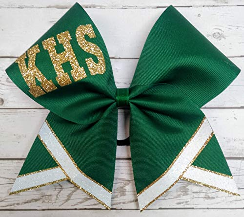 (Custom Cheer Bow Team Cheerleading Hairbow 7 inch Green Gold and White Colors)