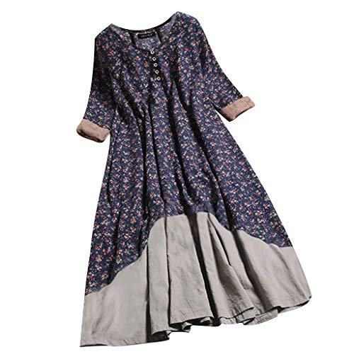 (DondPo Women's T Shirt Dress Long Sleeve Floral Print Retro O-Ncek Layered Bohemian Vintage Long Dresses Blue)