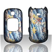 Winter Camouflage For samsung Gusto U365 Including Front and Back Graphic Design Snap on Hard Plastic Cover Protector Case with Rubberized Exterior Coating