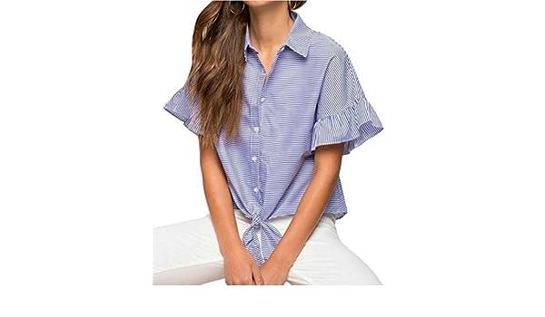 e9e53461 ARTFFEL-Women Short Sleeve Ruffle Stripe Loose Button Down Shirt Top Blouse  at Amazon Women's Clothing store: