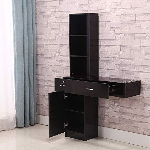 Tinkin Light Wall Mount Cabinet Salon Beauty Spa Station BarberPub Storage Cabinet Shelf Hair Styling Desk Table Holder with 2 Drawers, 1 Door Storage, 3 Open Shelves Salon SPA Nail Equipment (Black)