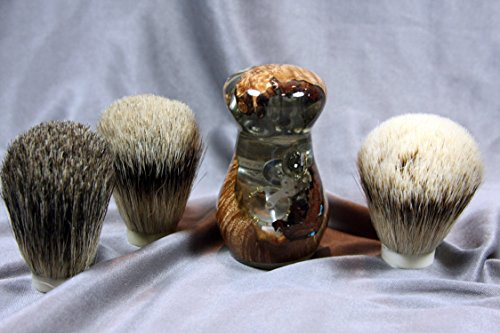 Maple Burl Shaving Brush w/ Clock Design by Wood Razor