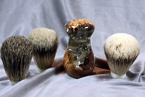 Maple Burl Shaving Brush w/ Clock Design by Wood Razor