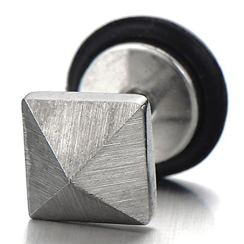 Unisexe Pyramide Boucles d'oreilles Homme Femme - Clous d'oreille Homme Mixte - Acier Inoxydable - Couleur Argent - 2 Pièces