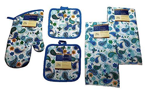 - Paisley Kitchen Towel 5 Piece Bundle Set 2 Towels 1 Oven Mitt 2 Pot Holders
