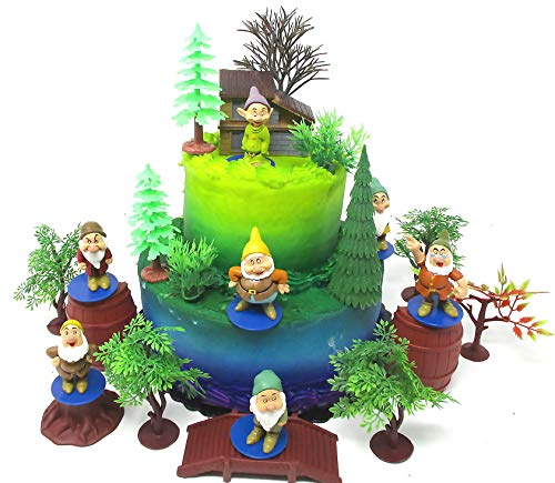 Snow White and the Seven Dwarfs Dwarf Birthday Cake Topper Set Featuring Dwarf Figures and Decorative Accessories