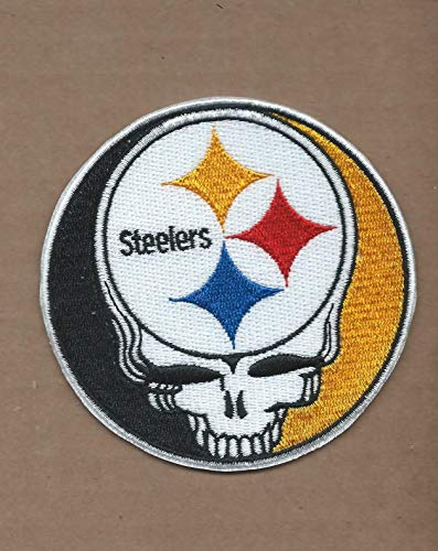 - New 3 1/2 INCH Pittsburgh Steelers Grateful Dead Iron ON Patch