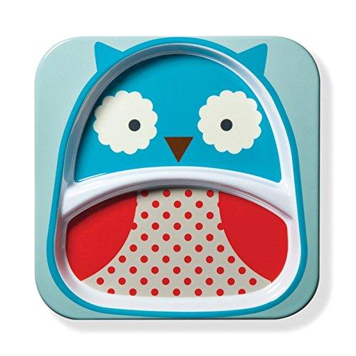 Skip Hop Baby Zoo Little Kid and Toddler Melamine Feeding Divided Plate, Multi Otis Owl (Owl Small Plate)