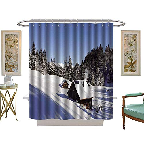 luvoluxhome Shower Curtains 3D Digital Printing Sunny Winter Landscape with Occupied and Heated Log Cabins in The Mountains W69 x L70 Bathroom Decor Set with Hooks]()