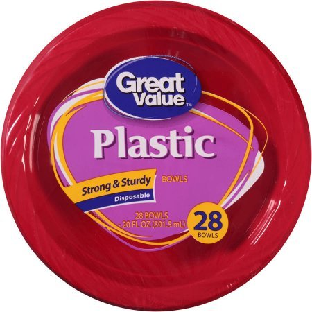 Great Value Premium Plastic 20 Oz Bowls, Red, 28 count -
