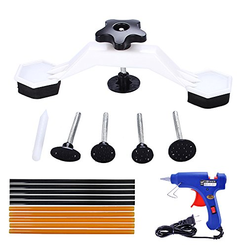 Pops a Dent Bridge Dent Puller Kit with Hot Melt Glue Gun Glue Sticks for Car Body Dent Repair ()