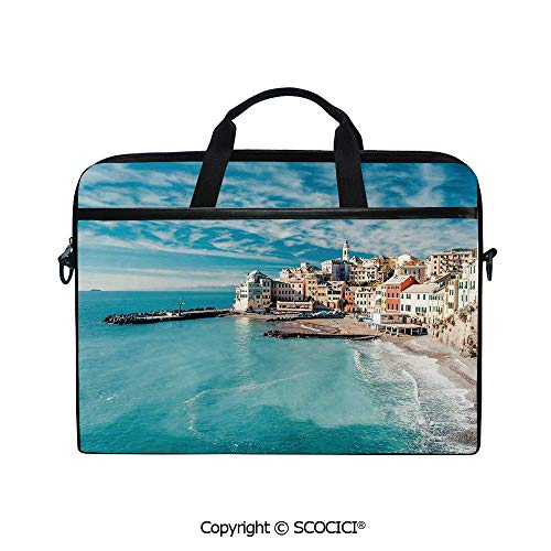 Durable Waterproof Printed Laptop Shoulderr Bag Panorama of Old Italian Fish Village Beach Old Province Coastal Charm Image Computer Briefcases for 15 inch (Fish Italian Charm)