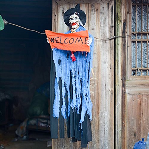 AZOWA 51'' Animated Cool Scary Hanging Grim Reaper Skull Witch With 'Welcome' Greeting Ghost for Best Halloween Yard Decorations Prop (Blue, 51'' X 11.8'') (Animated Halloween Props Clearance)
