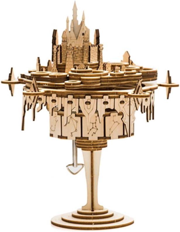 Accesorios decorativos Castillo de la fantasía de bricolaje caja de música de madera caja de música del cielo de los hombres y de las mujeres de la ciudad regalo de cumpleaños regalo creativo Asamblea