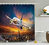 City Scene Shower Curtain Ambesonne Travel Decor Shower Curtain, Aerial View of Airport with Plane on Air Night Scene Over City Sunset Image, Fabric Bathroom Decor Set with Hooks, 70 Inches, Orange Blue