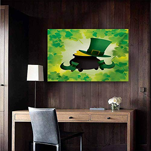 duommhome St. Patricks Day Wall Art Decor Poster Painting Leprechaun Hat and Shoes Costume with Pot of Gold with Shamrock Leaves Decorations Home Decor 35