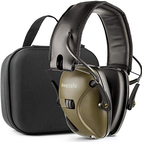 awesafe Ear Protection for Shooting Range, Electronic Hearing Protection for Impact Sport [Comes with Hard Travel Storage Carrying Case Bag], Safety Ear Muffs, NRR 22, Ideal for Shooters and Hunti ()