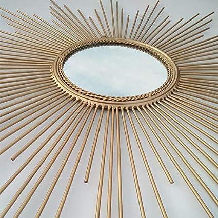 CQMYG Oro e Argento a Forma di Sole Semplice Specchio Decorativo Europeo Tavolo Portico Camino TV Divano Appeso a Parete Specchio Oro Diametro 100 cm