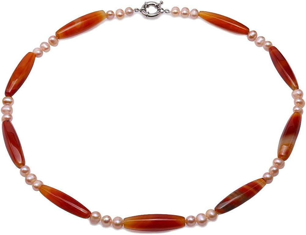 JYX Collar de ágata Piedras Preciosas de ágata 9,5 × 40 mm Cuentas de ágata Roja Collares con Rosado Perlas de 8 mm para Mujer, 60cm