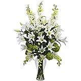 Nearly Natural Lily, Delphinium & Hydrangea Silk Arrangement Floral Decor, White