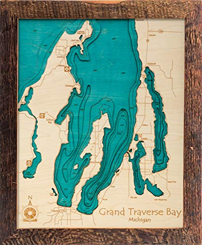 Lake Texoma - Grayson County - TX - 3D Map 14 x 18 in (Brown Rustic Frame/No Glass Front) - Laser Carved Wood Nautical Chart and Topographic Depth map.
