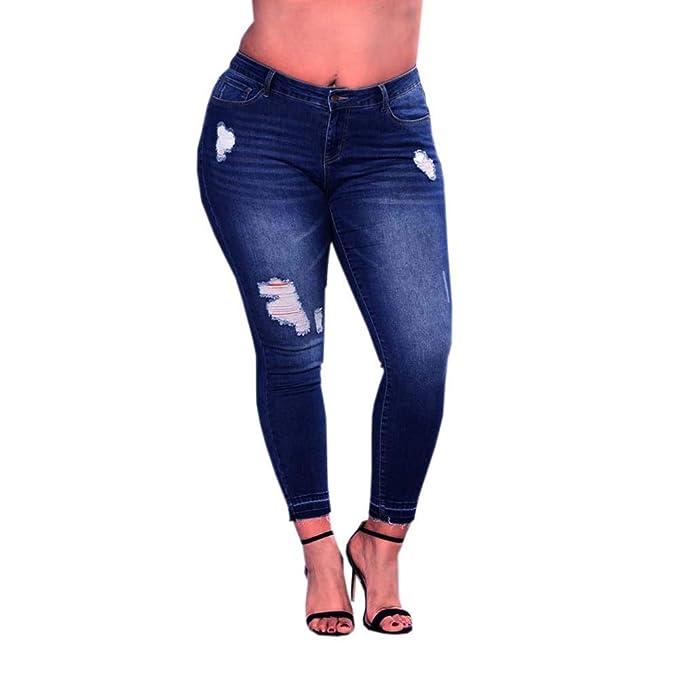 Womens Denim Blue Jeans High Waist Skinny Stretch Long Pants Trousers Plus Size