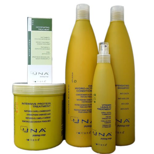Una Oxygenating Treatment 3.17 oz, Una Intensive Protein Treatment 1000ml, Una Daily Hydro-active Conditioner 1000ml, Una Compensating Shampoo for Hair Loss 1000ml, UNA Vitamin Leave-in Treatment 8.5 oz - 5 Set