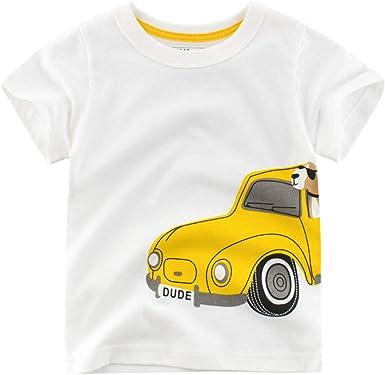 27 KIDS Camiseta Infantil De Algodón De Dibujos Animados para Niños, Camiseta De Manga Corta con Cuello Redondo, Camiseta De Los Niños, Camiseta Blanca, 140: Amazon.es: Ropa y accesorios