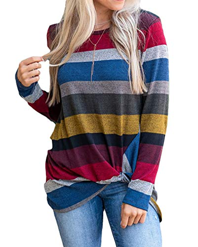 AMCLOS Womens Tops Striped T-Shirts Knot Side Twist Tunic Casual Blouses Lightweight Long Sleeve (Red, S) ()
