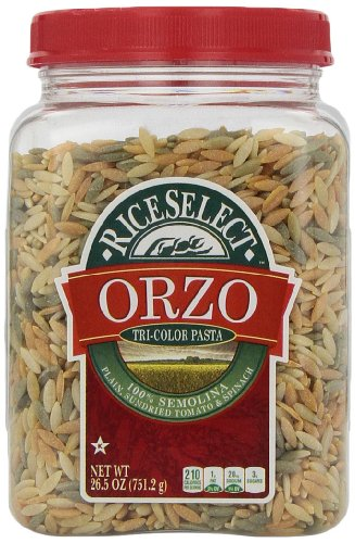 RiceSelect Orzo Tri-Color Pasta, 26.5-Ounce Jars (Pack of 4)