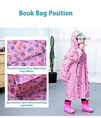 Yuntown Kids Rainwear Waterproof Transparent Hat Eaves Bag Poncho Windproof